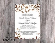 wedding photo - DIY Wedding Invitation Template Editable Word File Instant Download Printable Leaf Invitation Rustic Gold Invitation Elegant Invitation