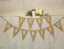 wedding photo - Just Married Banner / Burlap Banner / Wedding Banner / Reception decoration / Shower / Rustic / Photo Prop