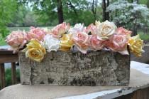 wedding photo - Rustic Birch Bark Covered Planter Box - Woodland Planter - Rustic Barn Wedding Centerpieces -