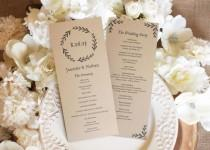 wedding photo - Printable wedding program, rustic wedding program. Editable Text - Woodland Wreath, 4 x 9.25 (Tea Length), PDF