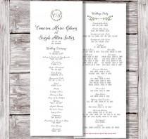 wedding photo - Catholic Wedding Program, Printable Wedding Program, Rustic Wedding Program, Kraft Wedding Program, Monogram Wedding Program, The Sea Ranch