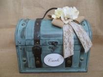 wedding photo - Rustic Aqua Wedding Trunk, Wedding Card Holder, Wedding Card Box, Money Holder, Money Box, Wedding Suitcase, Rustic Wedding Trunk