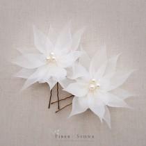 wedding photo - Pure Silk Bridal Hair Flowers, Bridal Hair Pins, Wedding Hair Flowers, Rustic Wedding Hair Accessory, Wedding Hairpins, Freshwater Pearl
