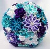 "wedding photo - Fabric Wedding Bouquet, Brooch bouquet ""Melissa"" Turquoise, White and Purple"