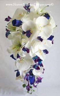 wedding photo - Blue orchids, Cascade Cascading, Bouquet Real Touch Flowers, Bride & Groom Wedding set: White Off-white Orchids, Tiger lilies, blue/purple