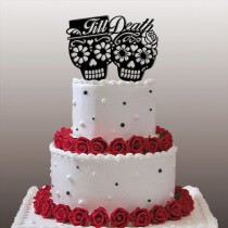 "wedding photo - Day Of The Dead/Dia De Los Muertos - ""Till Death"" Wedding Cake Topper"