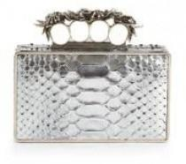 wedding photo - Alexander McQueen Metallic Python Knuckle Box Clutch