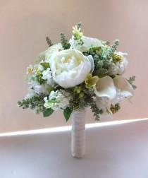 wedding photo - Bridal Bouquet, White Peonies & Scabiosa wedding bouquet