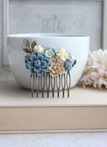 wedding photo - Dusty Blue Flower, Brown Sakura, Ivory Bouquet, Pearl, Shabby Flower Collage Hair Comb. Bridesmaids Hair comb, Bride Wedding Comb. Country