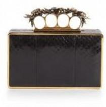 wedding photo - Alexander McQueen Snakeskin Knuckle Box Clutch