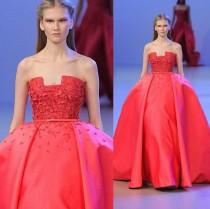 wedding photo - Unique Ball Gown Elie Saab Evening Gowns Formal Strapless Appliques Beading Satin Empire Prom 2016 Pageant Celebrity Run Fashion Design Online with $115.45/Piece on Hjklp88's Store