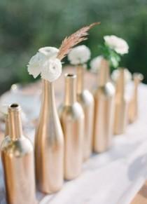 wedding photo - Bottles Painted Gold. DIY
