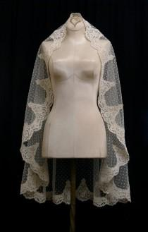 wedding photo - Ivory Swiss Dot Mantilla Veil With Dark Ivory Alencon Lace And Crystals