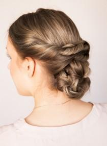 wedding photo - Easy DIY Rustic Chic Low Braided Updo - Weddingomania