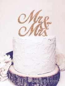 wedding photo - Mr & Mrs Cake Topper, Glitter  Sparkle Chic Wedding decor,  Glitter Both sides.