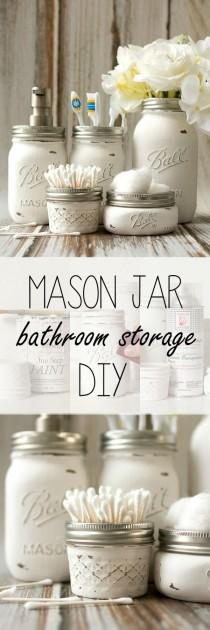 wedding photo - Mason Jar Bathroom Storage & Accessories