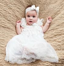 wedding photo - Baby dress, flower girl dress, Rustic flower girl, country flower girl, White lace baby dress, Baptism dress, Girl dress, Baby 1st birthday