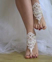 wedding photo - https://www.etsy.com/listing/267910548/beaded-ivory-lace-wedding-sandals-free?ref=shop_home_listings