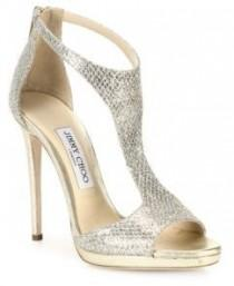 wedding photo - Jimmy Choo Glitter & Leather T-Strap Sandals