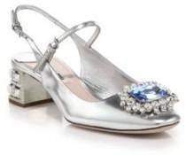wedding photo - Miu Miu Jeweled Slingback Mary Jane Pumps