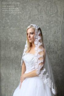 "wedding photo - Lace Trimmed Veil / Headpiece, Mantilla - ""FOREVER"""
