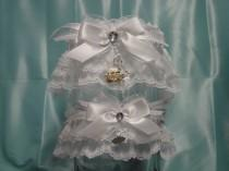 wedding photo - White Cinderella Rhinestone Pumpkin Carriage Wedding Garter Set