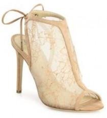 wedding photo - Monique Lhuillier Felicity Lace & Suede Peep-Toe Booties