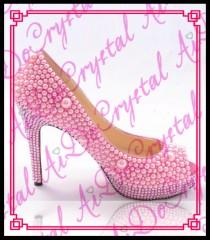 wedding photo - Aidocrystal Lovely pink pearls sexy peep toe high heels ladies wedding shoes from Reliable pearl bridal shoes suppliers on Aido Crystal