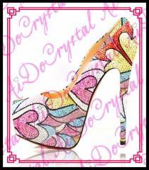 wedding photo - heart shape pattern cover Slip On hot fashion high platform high heels 16cm lady super heel