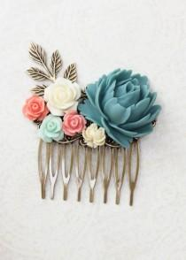 wedding photo - Blue Rose Comb Coral Rose Floral Comb Country Wedding Hair Comb Flower Adornment Bridesmaids Hair Accessories Hair Piece Bridal Hair Comb