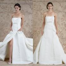 wedding photo - Modest 2016 Stain Strapless A Line Wedding Dresses Vestido De Novia Sexy Split Side Front Button Train Bridal Gowns By Sareh Nouri Custom Online with $112.12/Piece on Hjklp88's Store