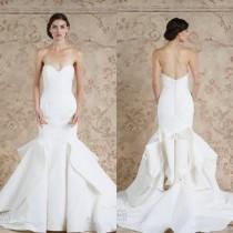 wedding photo - Charming 2016 Sareh Nouri Stain Mermaid Wedding Dresses White Vestido De Novia Sweetheart Sexy Ruffle Train Bridal Gown Custom Made Online with $105.93/Piece on Hjklp88's Store