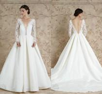 wedding photo - Backless Long Sleeves Wedding Dresses 2016 Sareh Nouri Deep V Neck Sheer A-Line Satin Chapel Train Sexy Bridal Ball Wedding Gowns Custom Online with $111.35/Piece on Hjklp88's Store