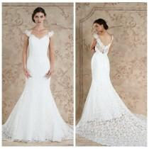 wedding photo - New Style 2016 Full Lace Wedding Dresses Sareh Nouri White Cheap Vestido De Novia Off Shoulder Mermaid Bridal Gowns Tiered Sweep Train Online with $107.48/Piece on Hjklp88's Store