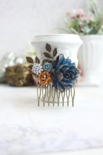 wedding photo - Bridal Hair Comb Gold Rose Navy Blue Rose Hair Comb Gold and Blue Something Rhinestone Blue Floral Comb Blue Garden Wedding Country Chic