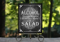 wedding photo - No Great Story ever Started with a Salad Printable Wedding Chalkboard sign,  Rustic Wedding Sign, Wedding Decor, Instant Download, Bar Sign