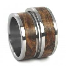 wedding photo - Black Ash Burl Wood Inlaid Titanium Ring, Wooden Wedding Band Set, Ring Armor Included