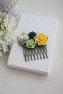 wedding photo - Yellow Mum, Navy Blue Rose, Dusky Grey, Dark Blue, Ivory Daisy, Gold Leaf Sprig, Pearl, Yellow and Blue Mint Green Wedding. Bridesmaid Gift