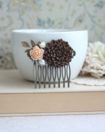 wedding photo - Chocolate Brown Chrysanthemum Flower, Peach Rose, Ivory, Pearl, Leaf Flower Brass Hair Comb. Bridesmaids Gift. Brown Wedding. Fall Inspired