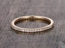 wedding photo - Full Eternity Band,Diamond Wedding Ring,Solid 14K Rose gold,Anniversary Ring,stackable ring,milgrain,Matching band,Micro pave,Thin design