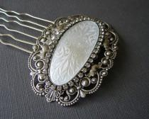 wedding photo - White Wedding Hair Comb Rhinestone Hairpiece Vintage Guilloche Enamel Headpiece Victorian Style Bridal Ballroom Pageant Jewelry Accessory