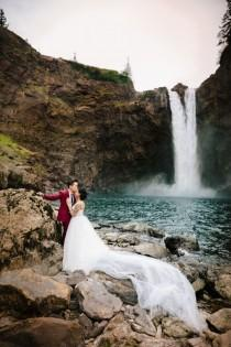 wedding photo - Origami Wedding at a Waterfall