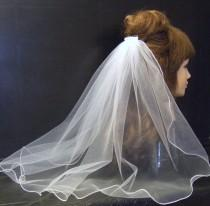 wedding photo - Bridal veil Communion Veil 1Tier White, Ivory,Shimmery White, Shimmery ivory Veil   20 inch long veil
