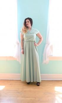 wedding photo - Vintage 1980s Mint Green Maxi Dress Bridesmaid Wedding Guest Small S Medium M Large L XLarge Xl Plus Size 6 8 10 12 14 16 18