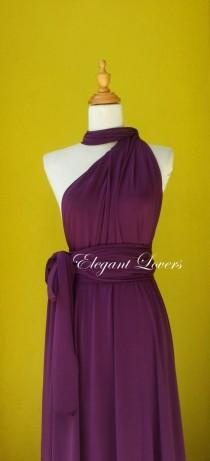 wedding photo - Dark Purple Wedding Bridesmaids Infinity Wrap Convertible Evening Cocktail Party Dress Long Maxi Elegant Prom Custom Made Plus Size Dresses