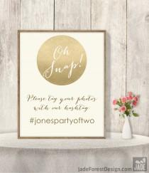 wedding photo - Wedding Hashtag Sign DIY / Instagram Sign / Social Media Photo Tag / Gold Sparkle Glitter Metallic Champagne Gold and Cream ▷Printable PDF