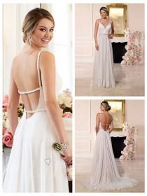 wedding photo - Beaded Straps and Sweetheart Neckline Low Open Back Wedding Dress