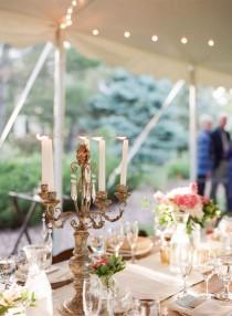 wedding photo - Taper Candles In Bronze Candelabra