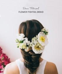 wedding photo - Hair Tutorial: Flower Fishtail Braid