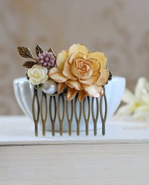 wedding photo - Wedding Accessory bridal hair Comb Large Cream Ivory Rose Flower Collage Hair Comb, Shabby Chic French Country Bridal Hair Accessory
